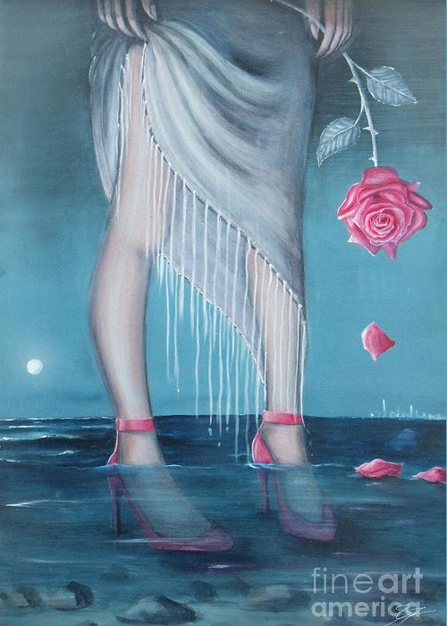 Legs Greeting Card featuring the painting Will You be my Valentine by - Artificium -