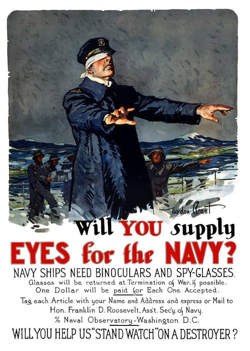 Ww1 Greeting Card featuring the painting Will You Supply Eyes For The Navy by War Is Hell Store
