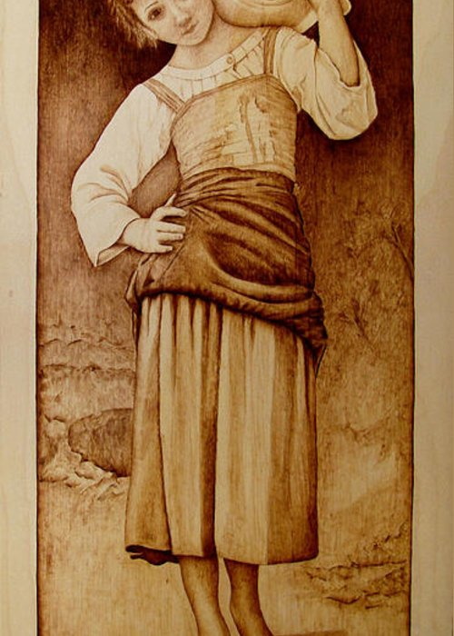 Pyrography Greeting Card featuring the pyrography William Bouguereau Water Carrier by Jo Schwartz