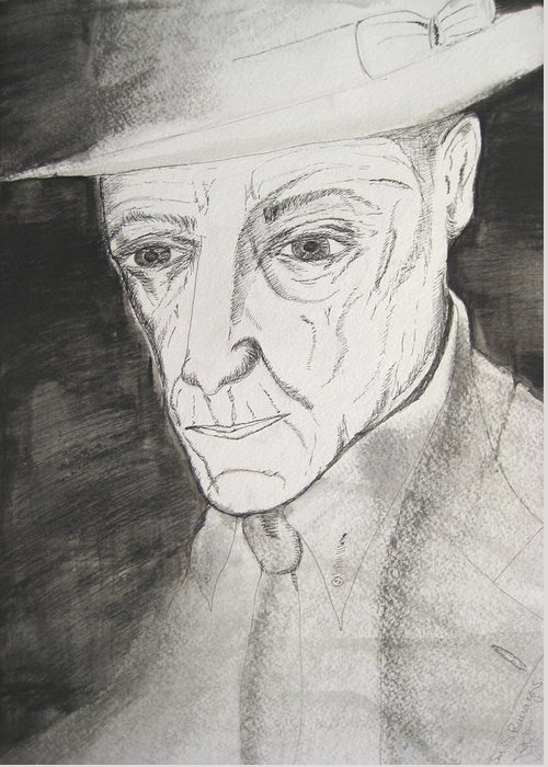 23 Author Black Burroughs Enigma Ink Man Music Painting Portrait Revolutionary Watercolor William Greeting Card featuring the painting William S. Burroughs by Darkest Artist