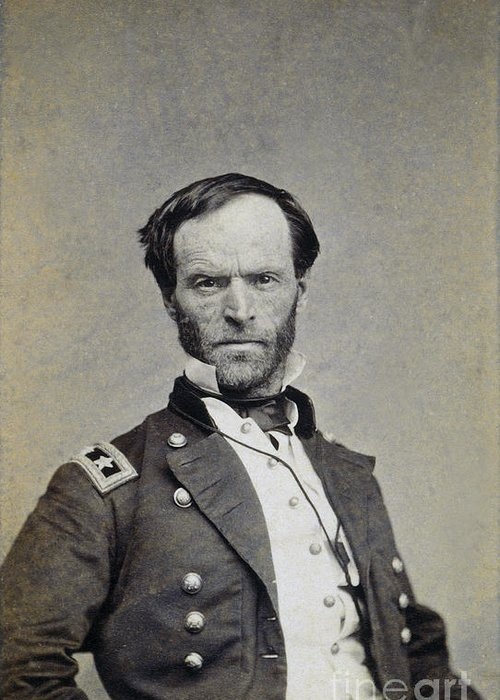 19th Century Greeting Card featuring the photograph William Tecumseh Sherman by Granger