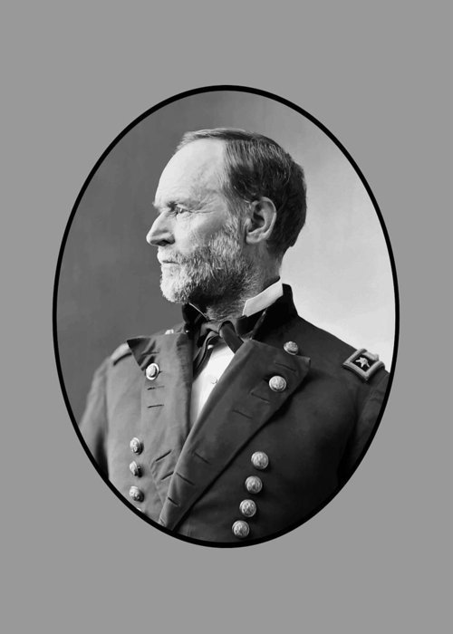 Civil War Greeting Card featuring the painting William Tecumseh Sherman by War Is Hell Store
