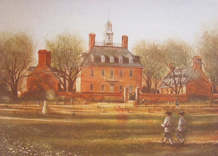 Charles Roy Smith Greeting Card featuring the painting Williamsburg Governors Palace by Charles Roy Smith