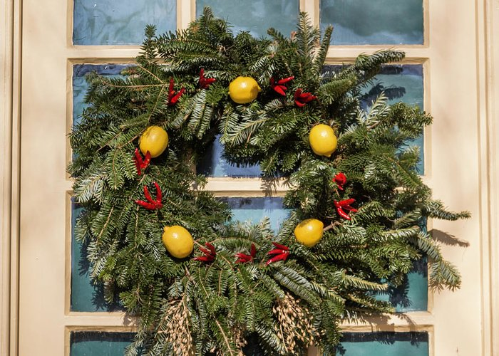 2015 Greeting Card featuring the photograph Williamsburg Wreath 37 by Teresa Mucha