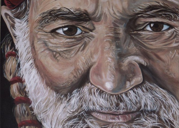 Portrait Greeting Card featuring the painting Willie by Diann Baggett