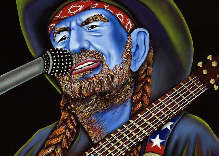 Portrait Greeting Card featuring the painting Willie by Nannette Harris