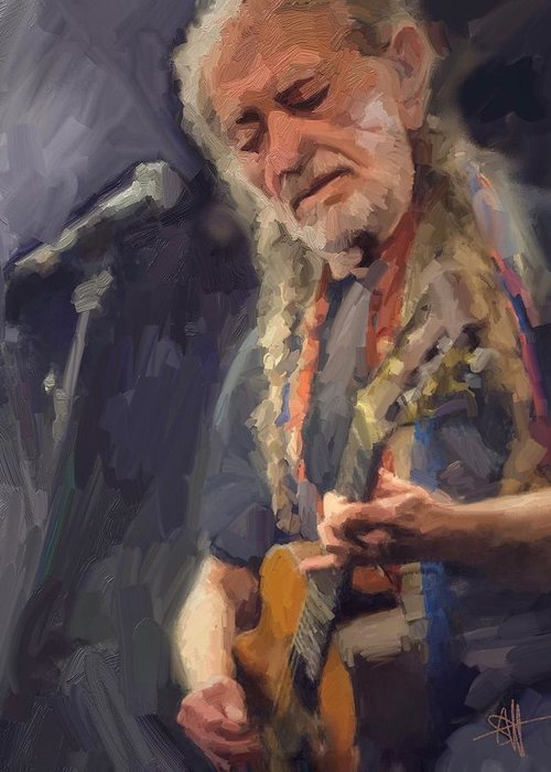 Willie Nelson Music Guitar {soc} Greeting Card featuring the digital art Willie by Scott Waters