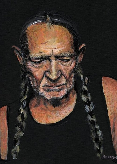 Willy Nelson Greeting Card featuring the painting Willie by Someone Jenkins