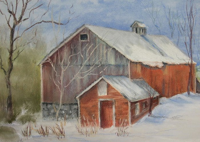 Barn Greeting Card featuring the painting Williston Barn by Carol Mueller