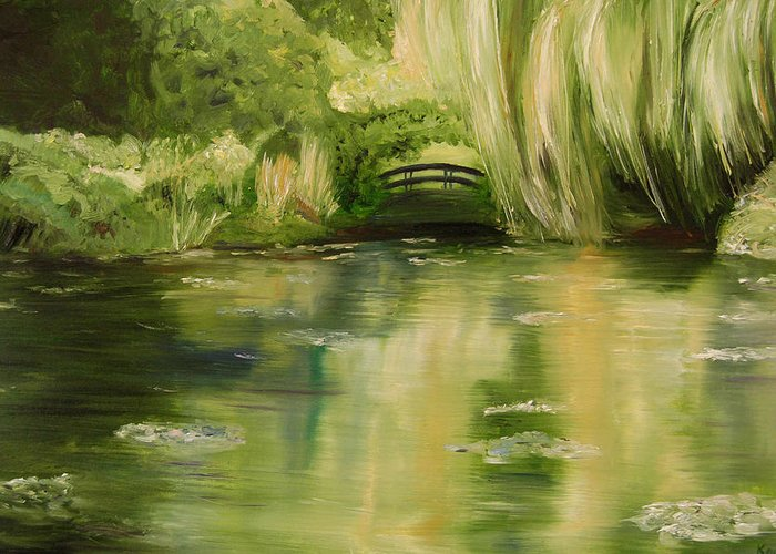 Konkol Greeting Card featuring the painting Willow At Monet by Lisa Konkol