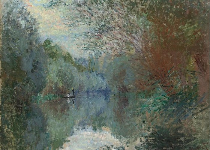 Claude Monet (1840-1926) Greeting Card featuring the digital art Willows At The Edge Of The Yerres by Mark Carlson