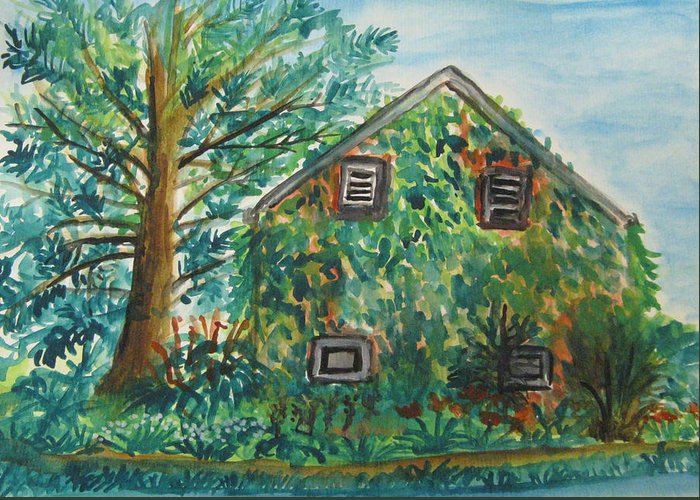 Landscape Greeting Card featuring the painting Willowwood by Caroline Lifshey