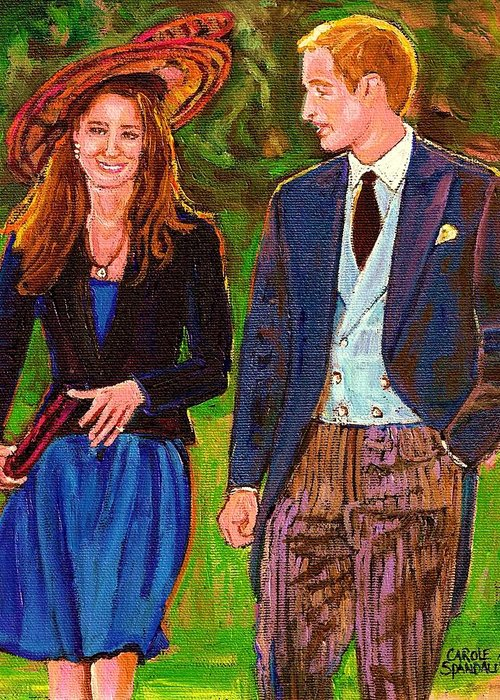 Wills And Kate Greeting Card featuring the painting Wills And Kate The Royal Couple by Carole Spandau