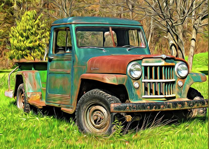Willys Jeep For Sale >> Willys Jeep Pickup Truck Paint Greeting Card For Sale By Steve