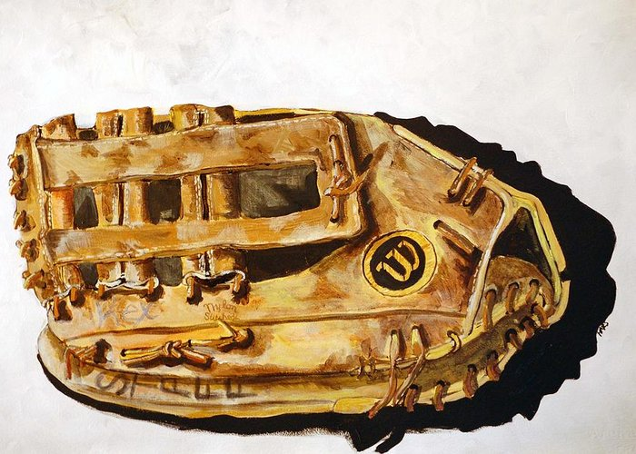 Baseball Greeting Card featuring the painting Wilson Staff Pro by Jame Hayes
