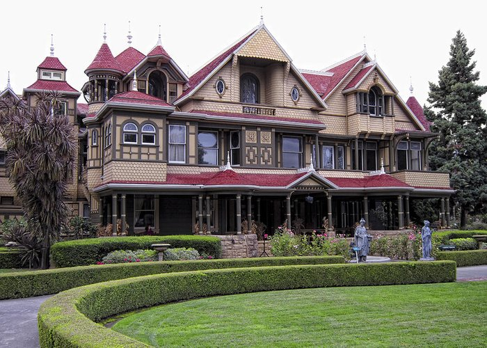 Winchester Greeting Card featuring the photograph Winchester Mystery House by Daniel Hagerman