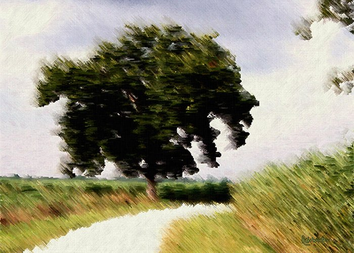 Breeze Greeting Card featuring the digital art Wind Motif Old Dam Road by RC DeWinter