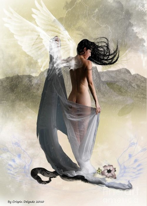 Angel Greeting Card featuring the digital art Wind Swept by Crispin Delgado