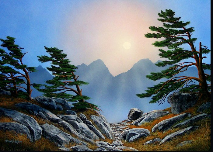 Windblown Pines Greeting Card featuring the painting Windblown Pines by Frank Wilson