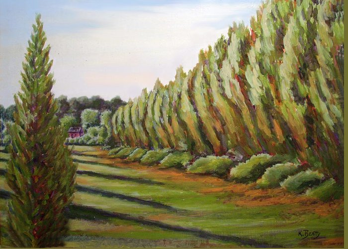 Oil Painting Greeting Card featuring the painting Windbreak Evening by Karla Beatty