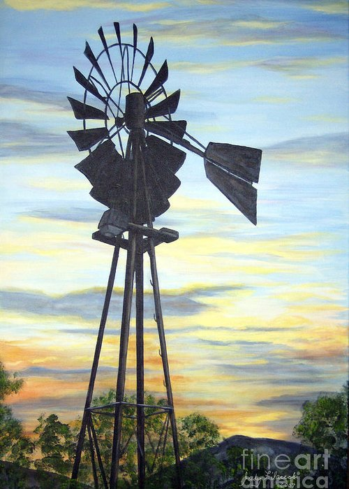Southwest Art Greeting Card featuring the painting Windmill Capture the Wind by Judy Filarecki