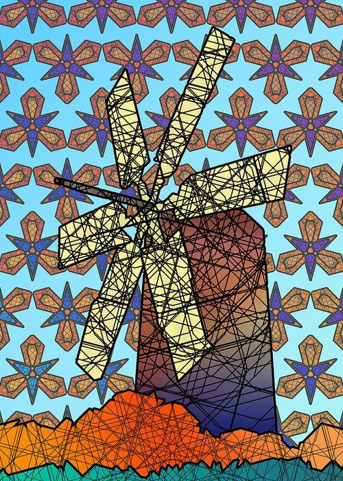 Windmill Art Greeting Card featuring the digital art Windmill by Dusty Conley