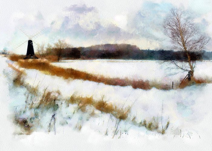 Landscape Greeting Card featuring the painting Windmill In The Snow by Valerie Anne Kelly