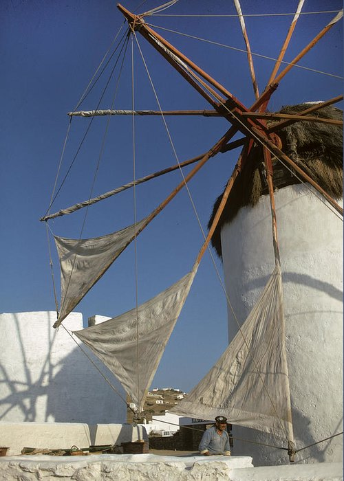 Windmill Greeting Card featuring the photograph Windmill On Mykonos by Carl Purcell