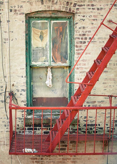 Windows Greeting Card featuring the photograph Window And Red Fire Escape by Gary Heller