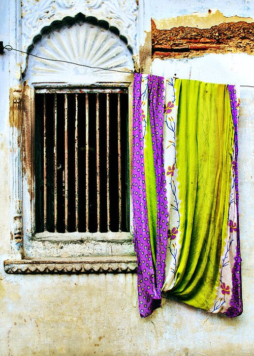 Window Greeting Card featuring the photograph Window And Sari by Derek Selander