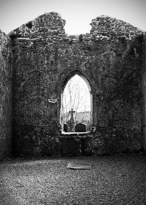 Ireland Greeting Card featuring the photograph Window At Fuerty Church Roscommon Ireland by Teresa Mucha