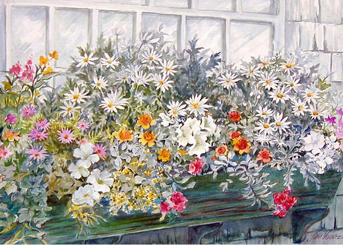 Floral;daisies;pastels; Greeting Card featuring the painting Window Box In The Sun by Lois Mountz