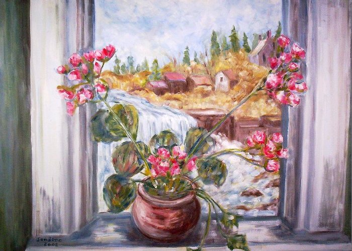 Still Life Landscape Flowers Window Greeting Card featuring the painting Window Falls by Joseph Sandora Jr