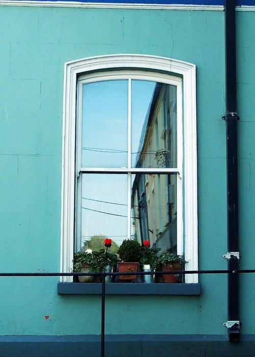 Irish Greeting Card featuring the photograph Window In Ennistymon Ireland by Teresa Mucha