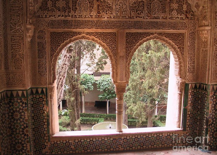 Window Greeting Card featuring the photograph Window In La Alhambra by Thomas Marchessault