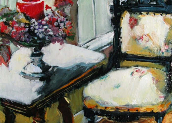 Interior Greeting Card featuring the painting Window Seat by Michelle Winnie