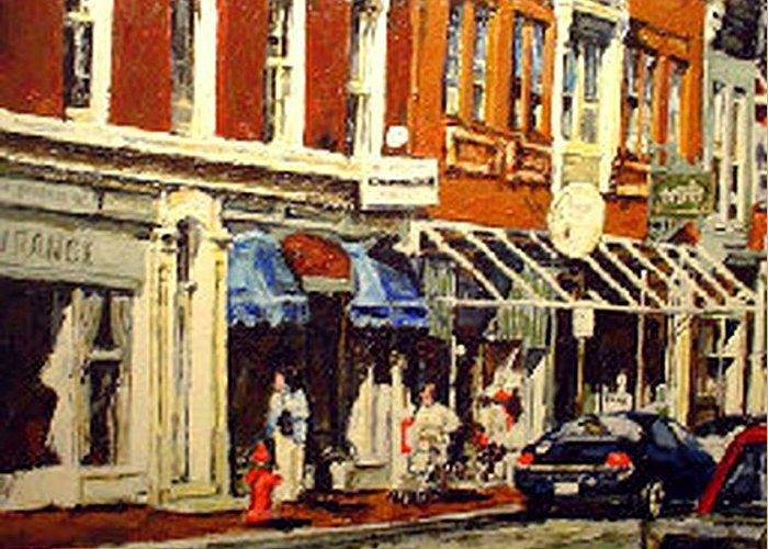 Cityscape Greeting Card featuring the painting Window Shopping by Thomas Akers