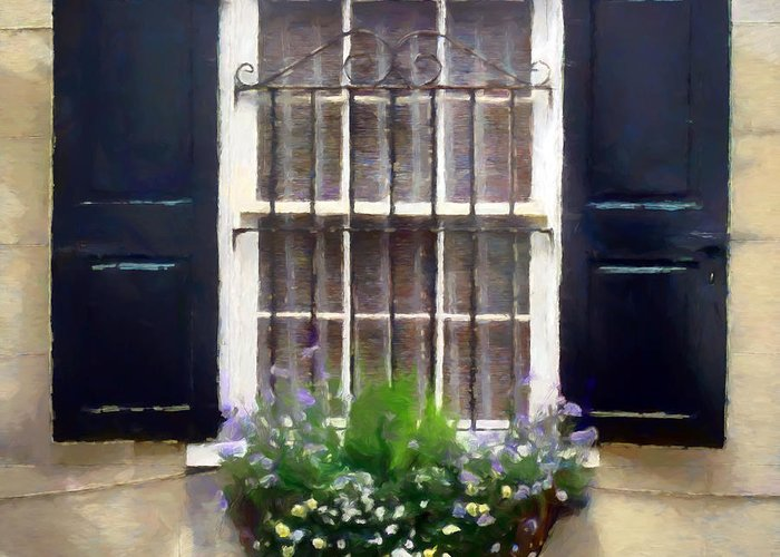 Window Greeting Card featuring the digital art Window Shutters And Flowers II by Ronald Bolokofsky