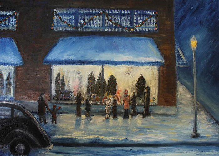 Christmas Card Greeting Card featuring the painting Window Wishes by Daniel W Green