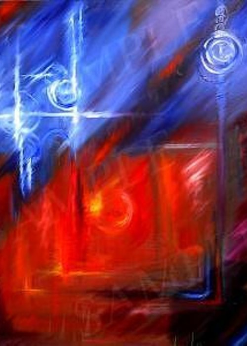 Abstracts Greeting Card featuring the painting Windows by James Christopher Hill
