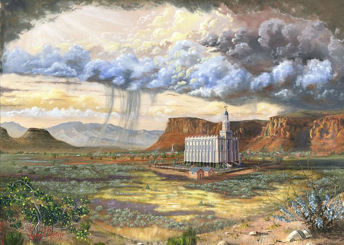 St. George Temple Greeting Card featuring the painting Windows Of Heaven by Jeff Brimley