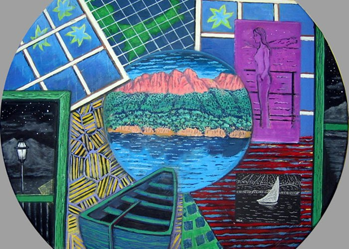 Windows Greeting Card featuring the painting Windows by Susan Stewart