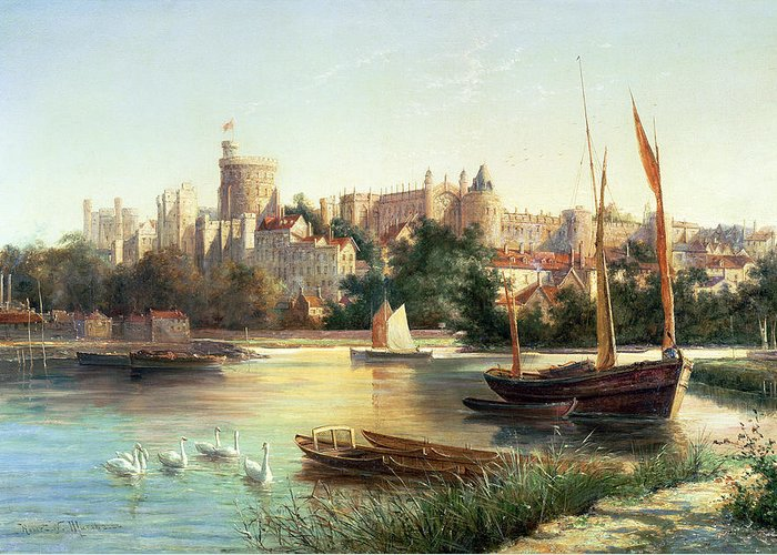 Windsor Greeting Card featuring the painting Windsor From The Thames  by Robert W Marshall