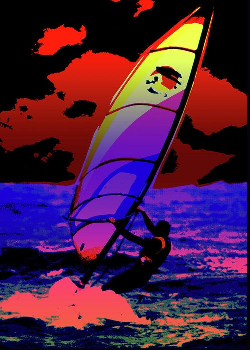 Abstract Greeting Card featuring the mixed media Windsurfer by Brian Roscorla
