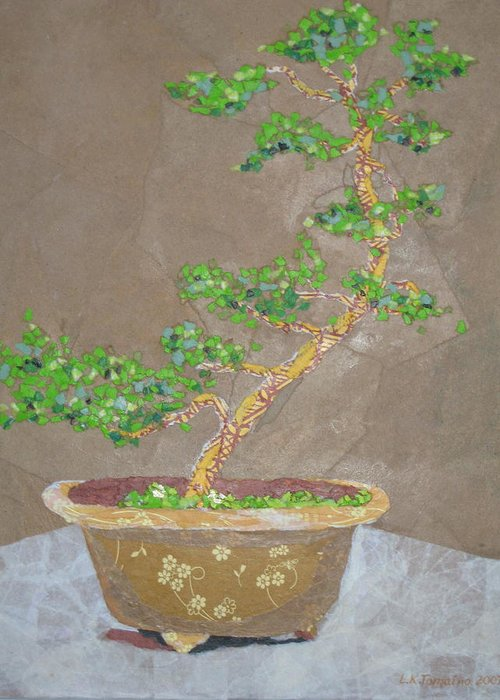 Banzai Tree Greeting Card featuring the painting Windswept Juniper by Leah Tomaino