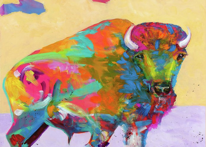 Buffalo Greeting Card featuring the painting Windswept by Tracy Miller