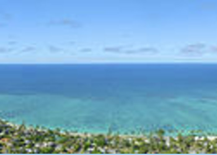 Blue Greeting Card featuring the photograph Windward Oahu Panoramic by David Cornwell/First Light Pictures, Inc - Printscapes
