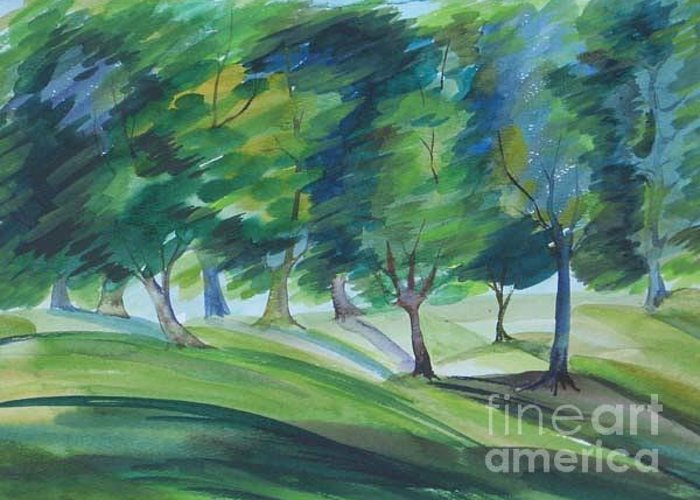 Watercolor Greeting Card featuring the painting Windy Day by Anna Duyunova