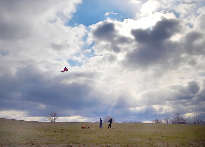 Windy Kite Day Greeting Card featuring the photograph Windy Kite Day by Bill Cannon