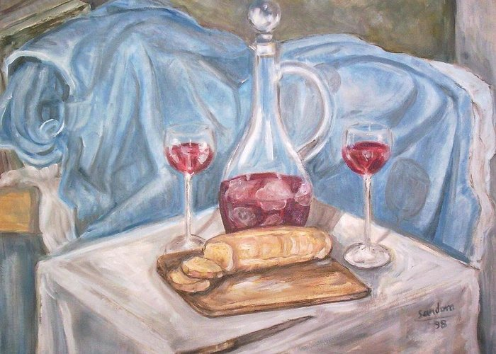 Still Life Wine Bottle Table Blue Greeting Card featuring the painting Wine And Bread by Joseph Sandora Jr